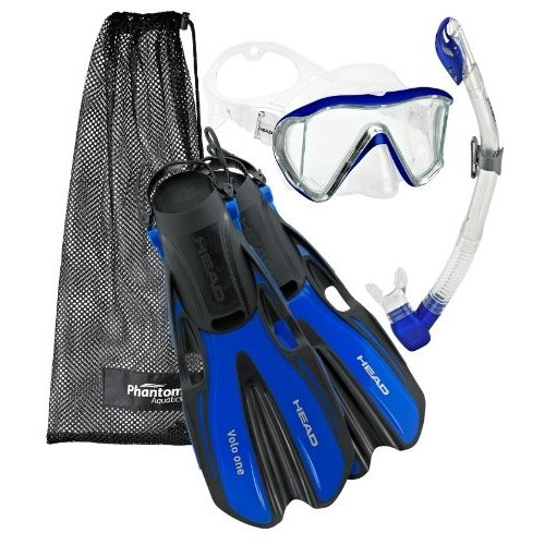100%安い シュノーケリングHead Manta Mask Fin Snorkel Set, Metallic Blue - MD, akibainpulse b7cec092