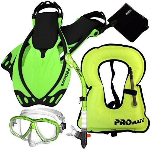 【アウトレット☆送料無料】 シュノーケリングPromate 859001-Green-SM-Snorkeling Vest Mask Dry Snorkel Fins Mesh Gear Bag Set, ビューティーショップエンジェル afa3a013