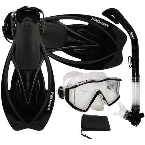 買い保障できる シュノーケリングPromate ML/XL Snorkeling Scuba Panoramic Mask Dry Snorkel Dry Scuba Dive Fins Set, Black, ML/XL, どっとカエール:8e20c37e --- airmodconsu.dominiotemporario.com