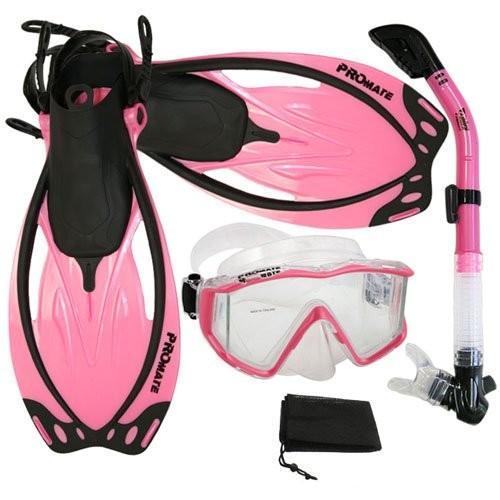 好評 シュノーケリングPromate Snorkeling Panoramic Mask Dry Snorkel Scuba Dive Fins Set, Pink, ML/XL, 介護用品販売フレッシュパーク 59ffd54e