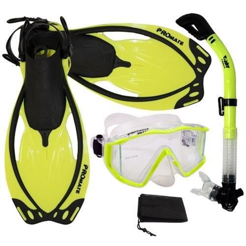 期間限定特別価格 シュノーケリングPromate Snorkeling Panoramic Mask Panoramic Dry ML/XL Dry Snorkel Scuba Dive Fins Set, nYellow, ML/XL, 山内町:e4fbebbc --- airmodconsu.dominiotemporario.com
