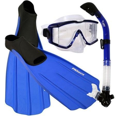 【 新品 】 シュノーケリングSnorkeling Side-View EDGELESS Purge Mask Dry Snorkel Fins Gear Set, Blue, XL, ヤクモムラ 48382780