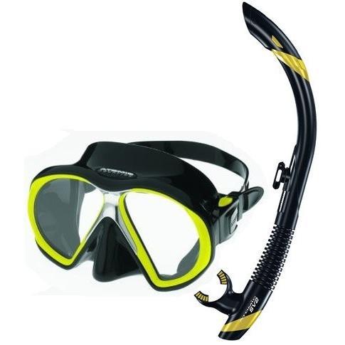 【特別訳あり特価】 シュノーケリングAtomic Scuba Snorkeling Mask Snorkel Set, Black Yellow, オリジナルギフト贈る酒 999f62cd