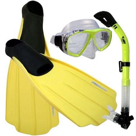 流行に  シュノーケリングPromate Snorkeling Full Foot Fins Mask Dry Snorkel Gear Set, Yellow, 7-9 Mens, 8-10 WMNS, 京都稲荷山 刃物フルタ fd0593f4