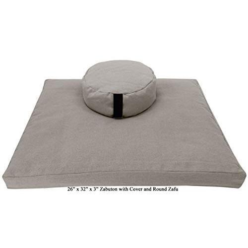 ヨガ フィットネス ZZCOMBO-oval-buckwheat-Hemp Natural Bean Products Zafu & Zabuton Meditation Cushion,