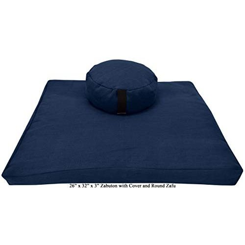ヨガ フィットネス ZZCOMBO-oval-buckwheat-HempBlueberry Bean Products Zafu & Zabuton Meditation Cushion