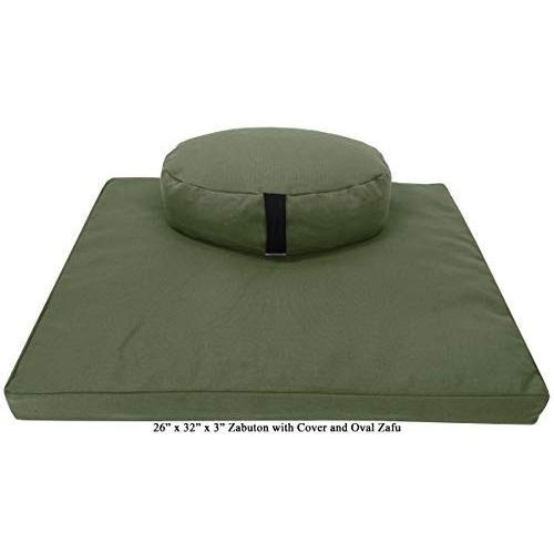 ヨガ フィットネス ZZCOMBO-oval-buckwheat-HempCactus Bean Products Zafu & Zabuton Meditation Cushion, O