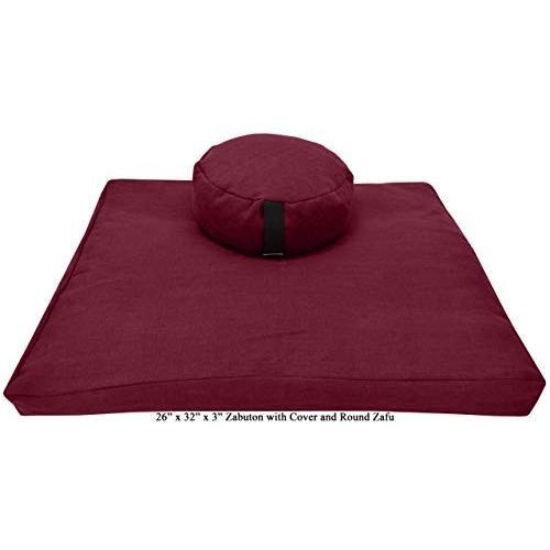 ヨガ フィットネス ZZCOMBO-round-buckwheat-HempRed Bean Products Zafu & Zabuton Meditation Cushion, Rou