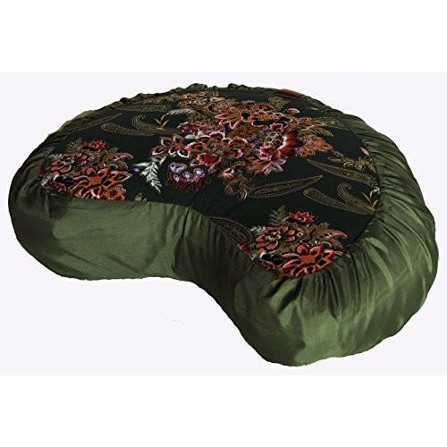 ヨガ フィットネス TS077E6 Boon Decor Meditation Cushion Crescent Zafu - Japanese Silk Print Limited #1