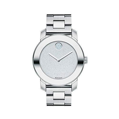 最安値 当店1年保証 モバードMovado Women's BOLD Iconic Metal Stainless Steel Watch with Flat Dot Glitter Dial, Silver (3600334), 家電と住宅設備の【ジュプロ】 4a203438