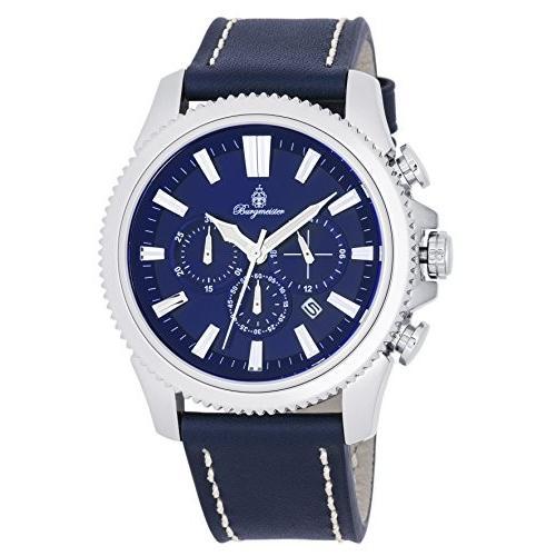 格安人気 当店1年保証 ブルゲルマイスターBurgmeister Men's Stainless Steel Quartz Watch with Leather Calfskin Strap, Blue, 23, 梅崎陶土 68e65bee