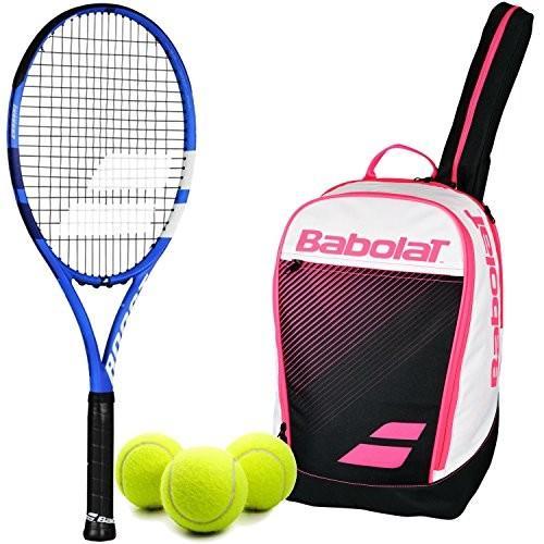 割引 テニスBabolat Boost of Bundled Drive Black/Blue Can/White Recreational Adult Performance Tennis Racquet (4 1/8