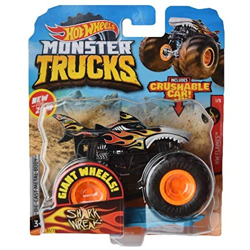 ホットウィール マテル ミニカー gjf08 Hot Wheels Monster Trucks 1:64 Scale Shark Wreak 31/75 Incl|maniacs-shop|01