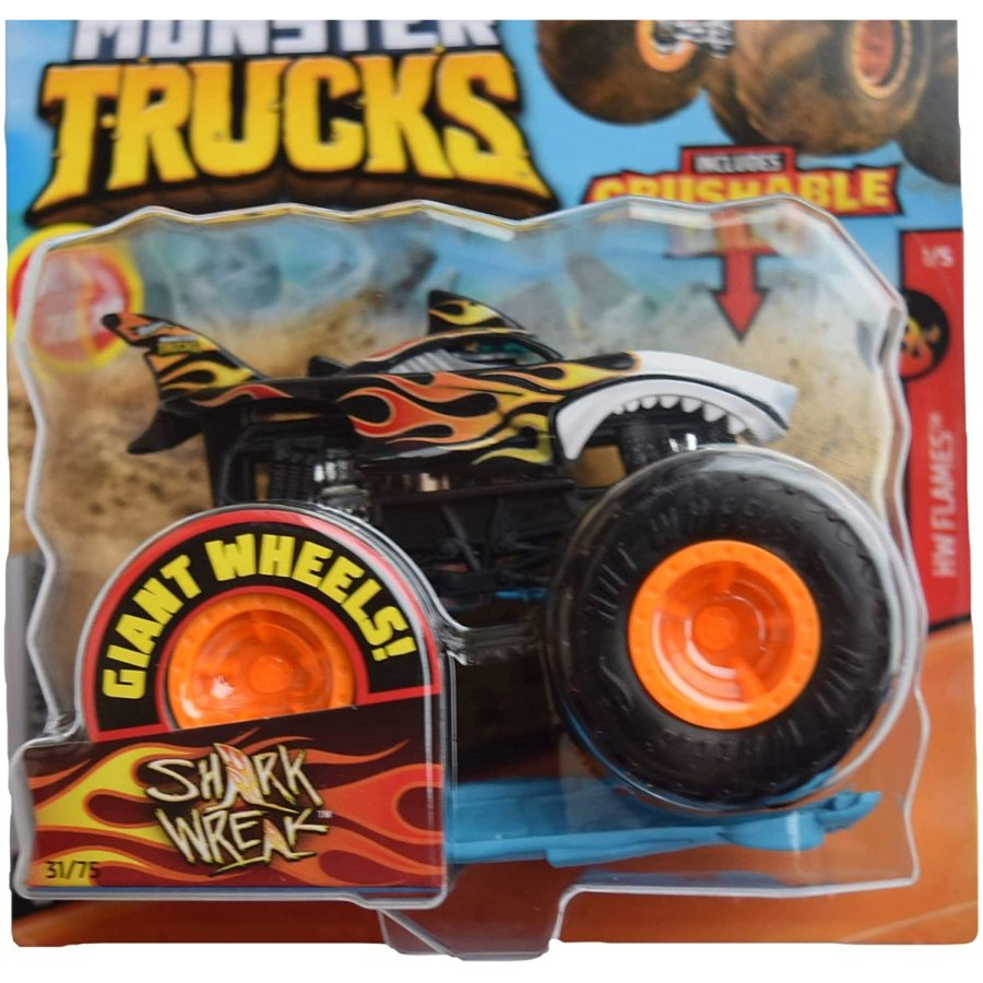 ホットウィール マテル ミニカー gjf08 Hot Wheels Monster Trucks 1:64 Scale Shark Wreak 31/75 Incl|maniacs-shop|02