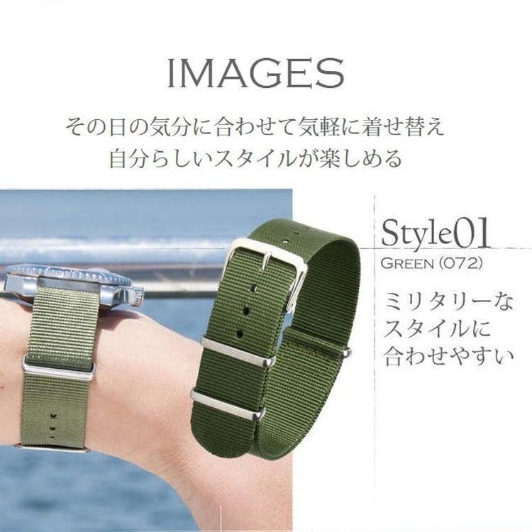 腕時計ベルト バンド 交換 ナイロン 24mm 22mm 20mm 18mm 16mm CASSIS TYPE NATO 141601S mano-a-mano 07