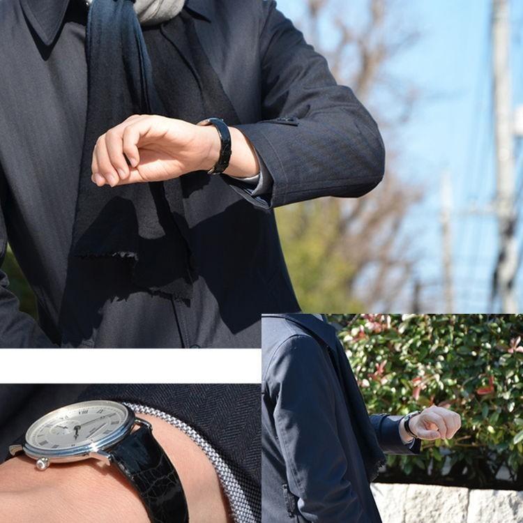 腕時計ベルト バンド 交換 カイマン(ワニ革) 20mm 18mm 16mm CASSIS COLMAR U0000A72|mano-a-mano|05