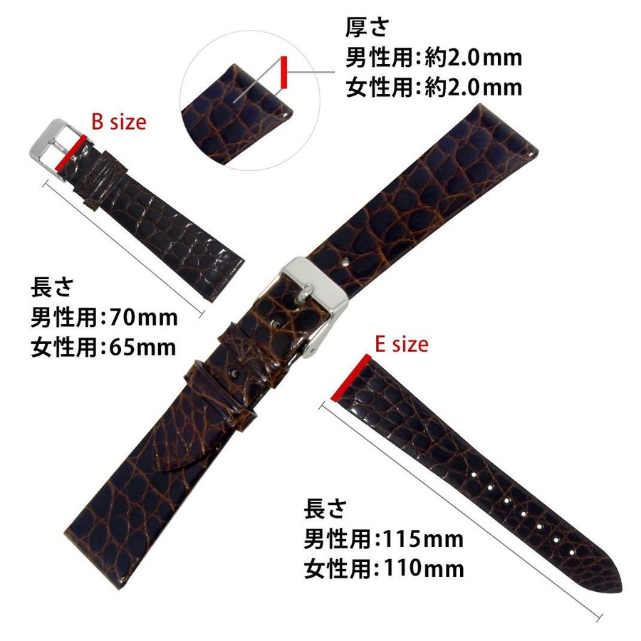 腕時計ベルト バンド 交換 ワニ革 19mm 18mm 17mm 13mm 12mm CASSIS RIOM C U1123B68|mano-a-mano|03