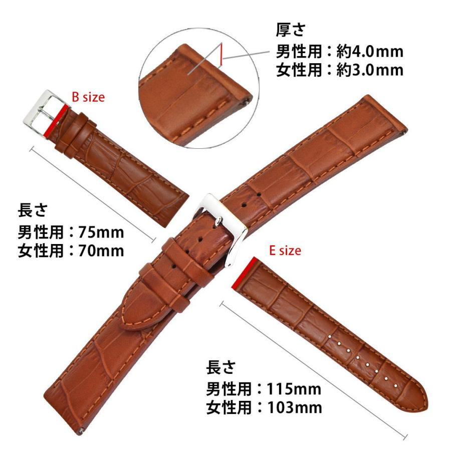 腕時計ベルト バンド 交換 牛革 24mm 22mm 21mm 20mm 19mm 18mm CASSIS AVALLON X1022238|mano-a-mano|03