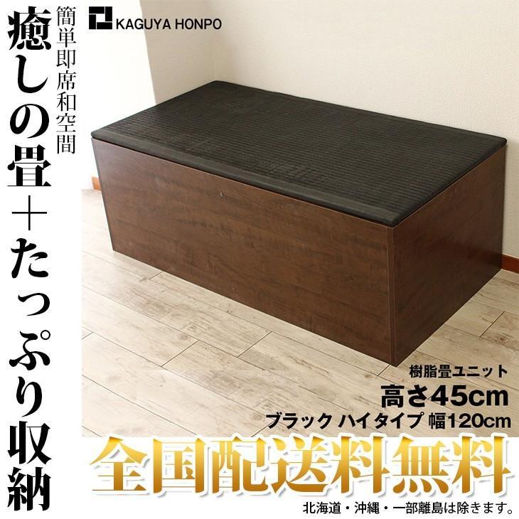 樹脂 畳ユニット ブラック 幅120cm ハイタイプ 小上がり 高床式ユニット畳 ユニット ベンチ ベッド 収納 ボックス pp-bk-h120