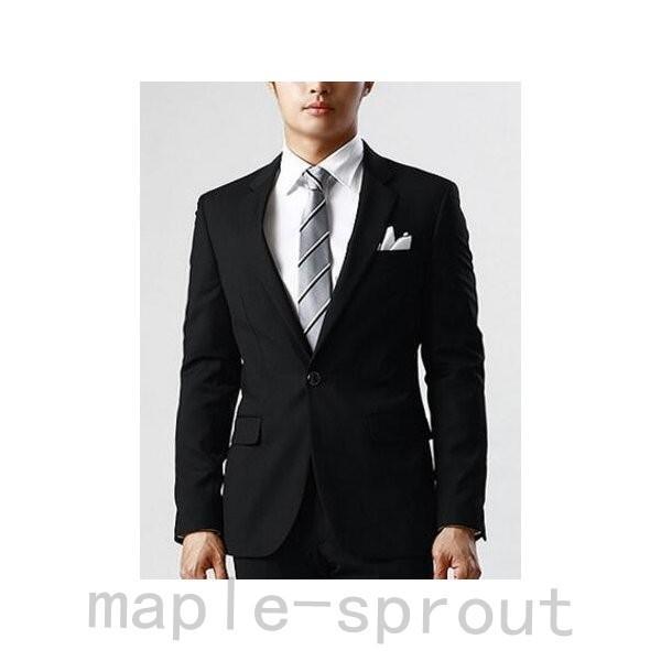 メンズビジネスオフィススーツ上下セット テーラードジャケットとズボンセット通勤カジュアルスーツ結婚式イベント細身パンツ2色|maple-sprout|02