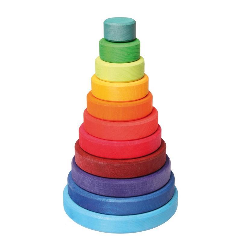「レインボータワー (円錐積み木)大」木のおもちゃ 知育玩具