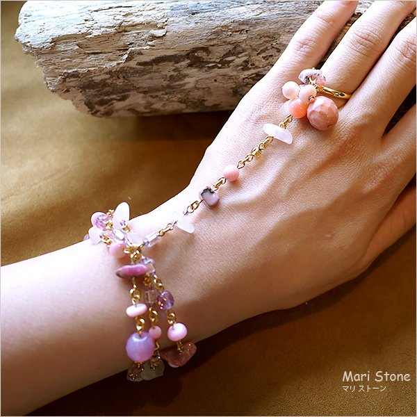 ローズクォーツ グラデーションピンクのリング付き3連ブレスレット 1点物 メール便送料無料|mari-stone|02