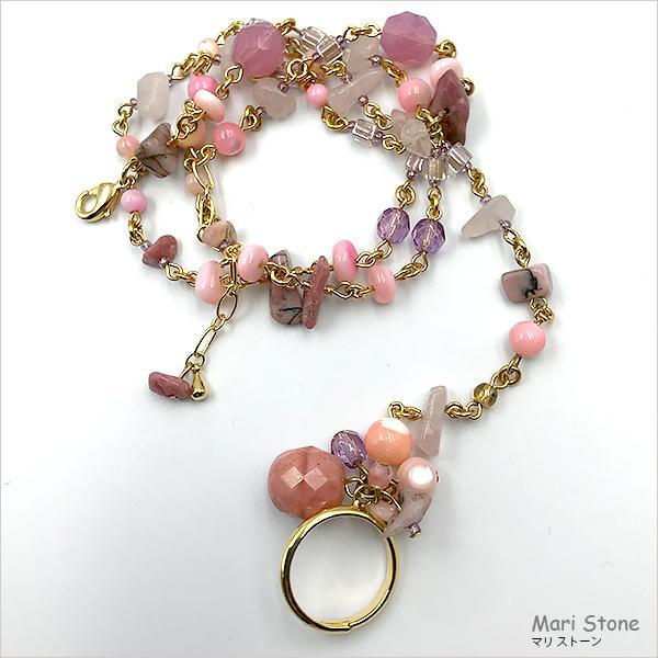ローズクォーツ グラデーションピンクのリング付き3連ブレスレット 1点物 メール便送料無料|mari-stone|03
