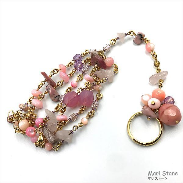 ローズクォーツ グラデーションピンクのリング付き3連ブレスレット 1点物 メール便送料無料|mari-stone|04