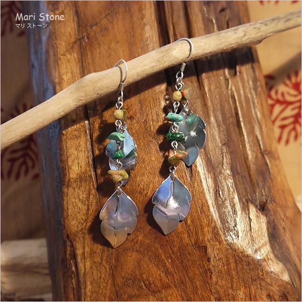 シルバーのリーフモチーフと天然石のロングピアス メール便送料無料|mari-stone|02