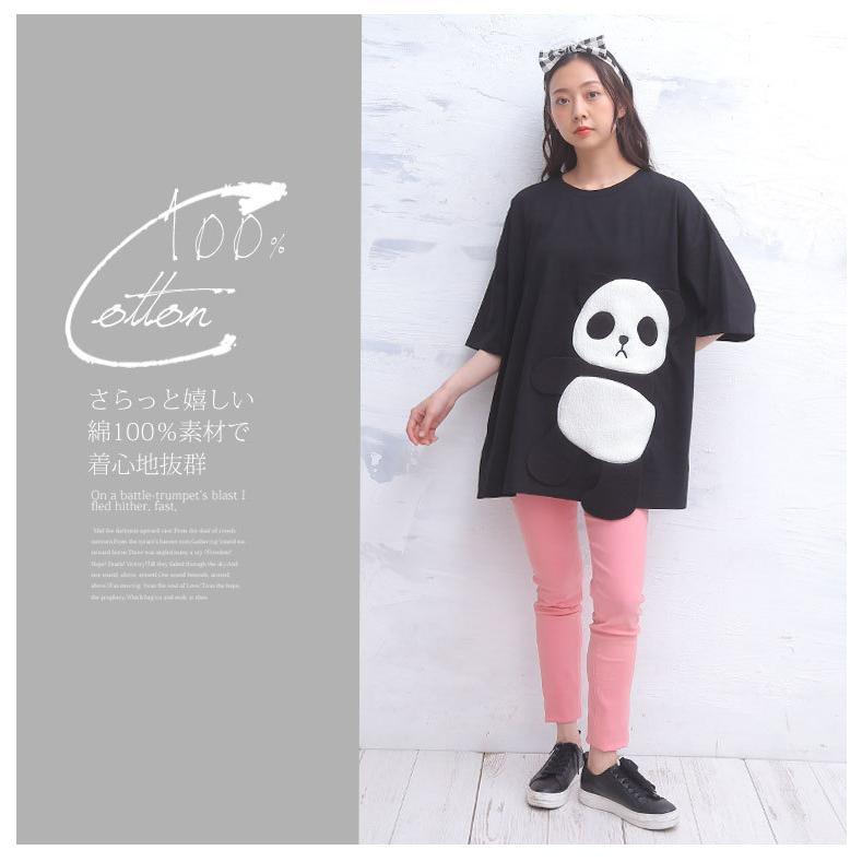 大きいサイズ レディース トップス Tシャツ 半袖 コットン 綿100% パンダ ゆったり カットソー 夏服 30代 40代 50代 ファッション MA marilyn 11
