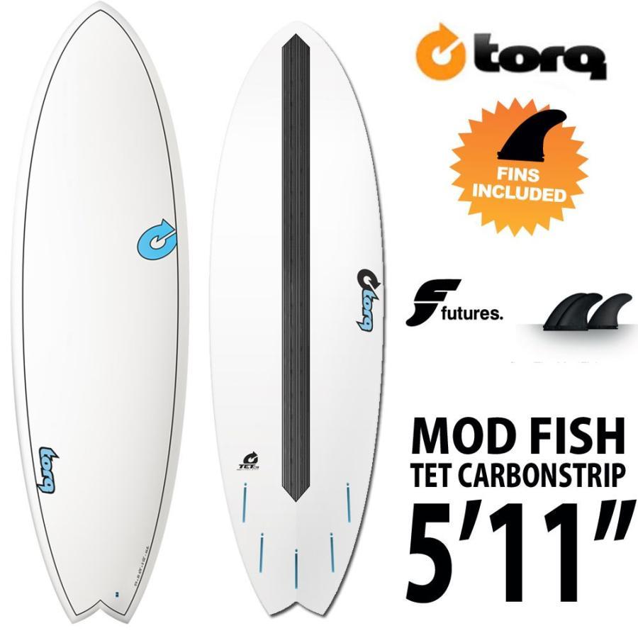 【時間指定不可】 TORQ Surfboard TET CABON STRIP MOD FISH 5'11