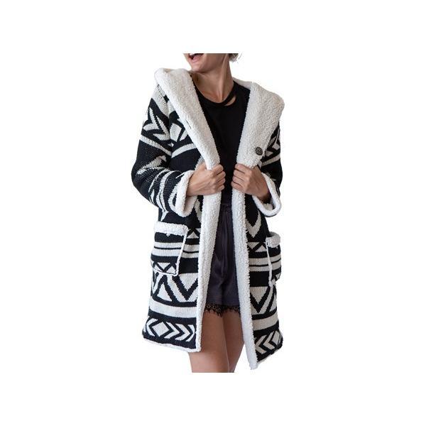 アーバンリトリート urbanretreat レディース リバーサイド ナバホ フーディー コート Reversible Navajo hoodie coat スポーツ フィットネス ニット コート