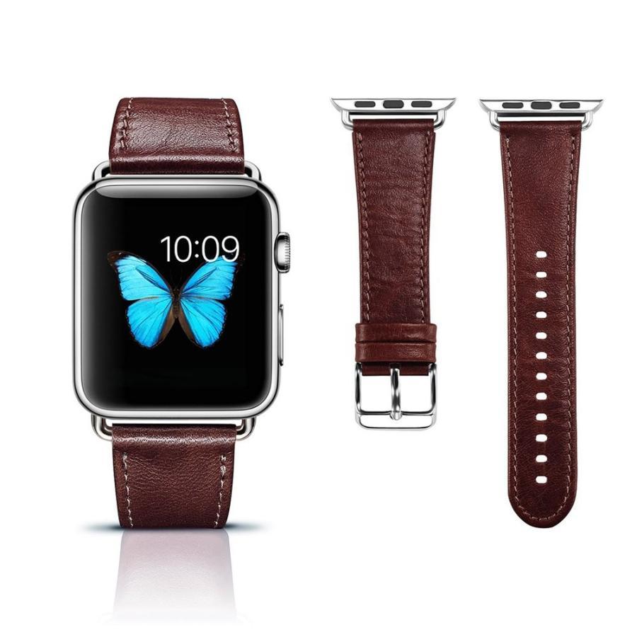 Apple Watch バンド 本革ベルト ICARER for i watch シリーズ金属クラスプ 簡単交換 手作りビジネス風 腕時計 アプルウォッチ 38mm 対応 コーヒー maritakashop