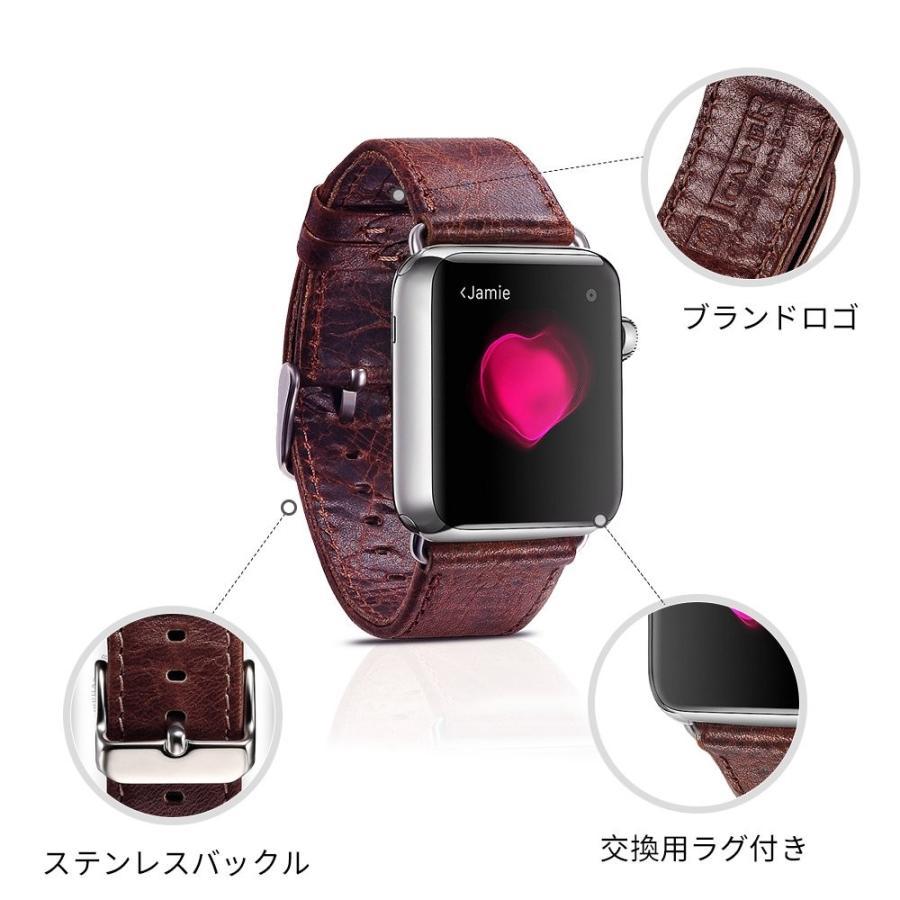 Apple Watch バンド 本革ベルト ICARER for i watch シリーズ金属クラスプ 簡単交換 手作りビジネス風 腕時計 アプルウォッチ 38mm 対応 コーヒー maritakashop 03