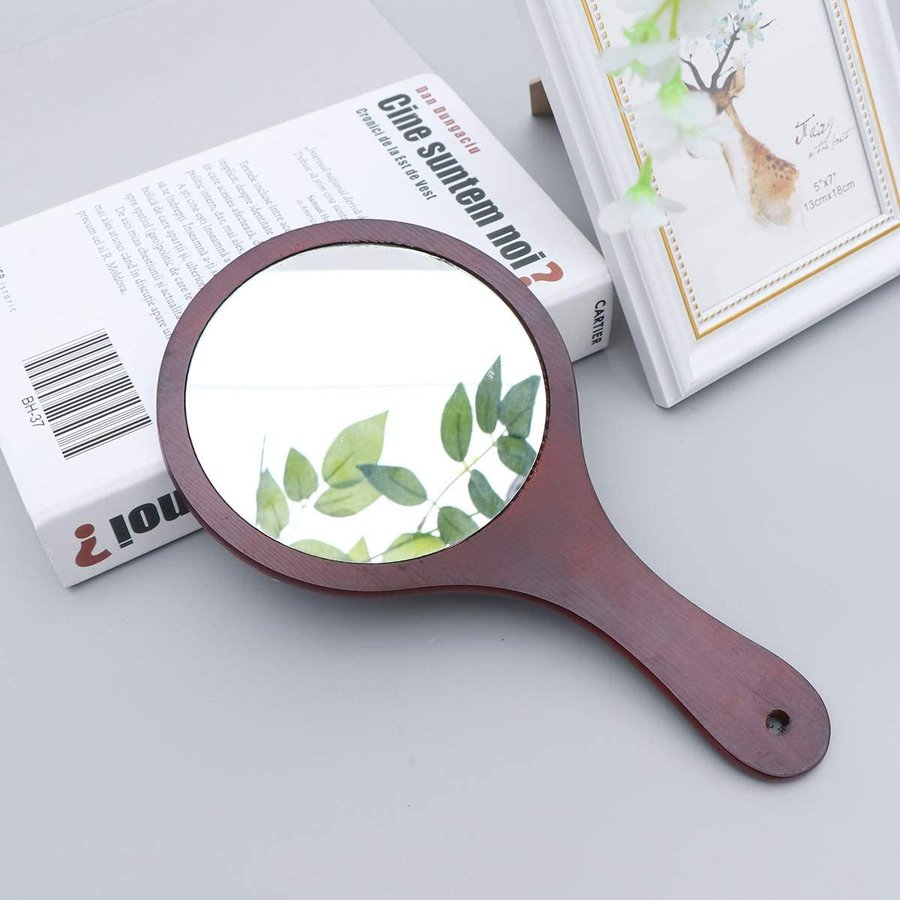 Frcolor ハンドミラー 木目調 手鏡 化粧鏡 携帯便利 手持ち メイクアップミラー かわいい おしゃれ(コーヒー)|markshoppers-select|07