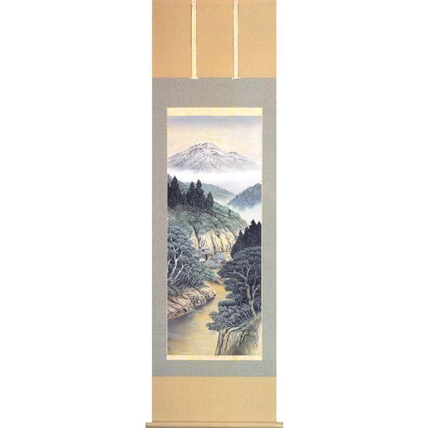 掛け軸 山水画 彩色山水(林 森次) 掛軸
