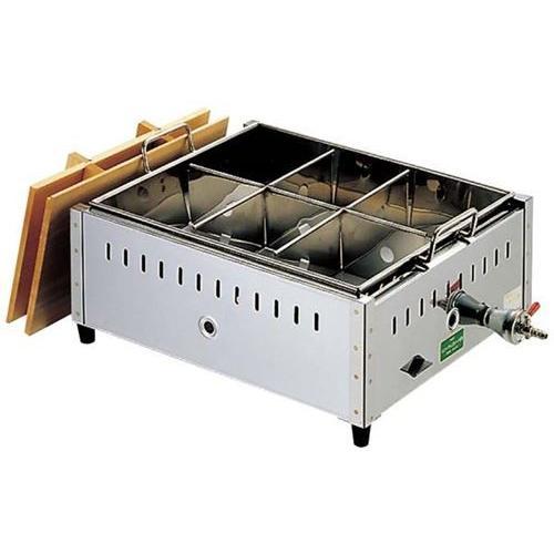EBM 18−8 関東煮 おでん鍋 尺4(42cm)LP / 業務用 6ッ仕切 ガス ガス式おでん鍋 ガスおでん鍋 おでん鍋 業務用おでん鍋 おでん保温庫