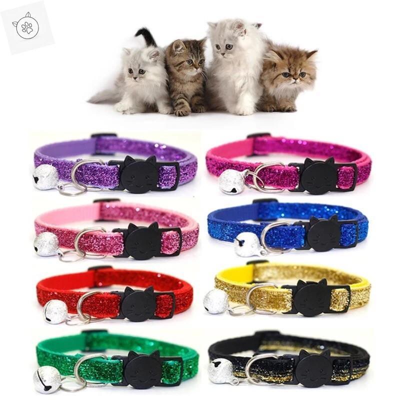 売り尽くしセール 猫用首輪 猫首輪 セーフティーバックル ねこくびわ ペット首輪 きらきら 小さめな鈴 長さ調査可能 首輪きらあ maruhachipetshop
