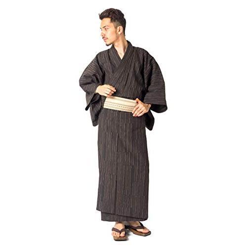 国産高級生地使用 浴衣 4点 セット (浴衣 帯 下駄 腰紐) メンズ 男性用 紳士 特選シンプル柄 (L, グレー02)