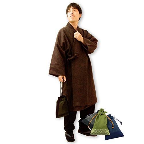 日本製作務衣コートウール和粋庵 (Lサイズ, No.3 茶) 和粋庵特製巾着付き