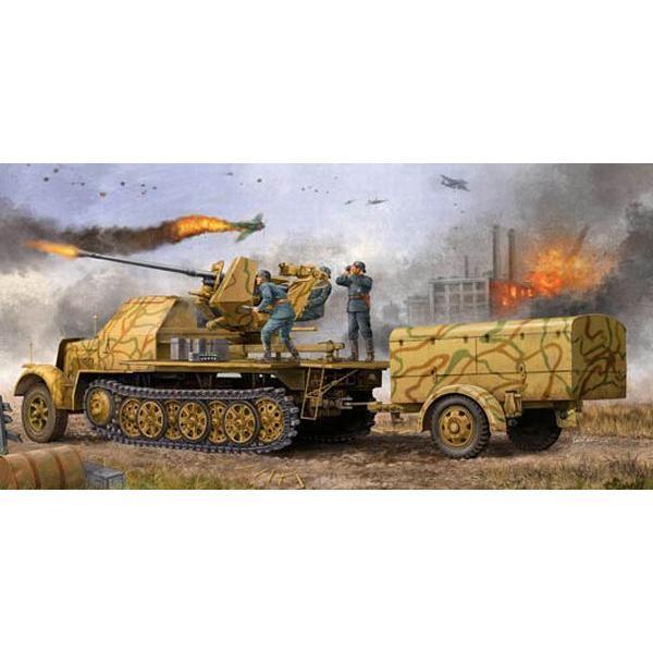 トランペッター1/35ドイツ軍8tハーフトラック Flak37/37対空機関砲搭載型&トレーラー【プラモデル】01526