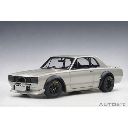 予約受付中!オートアート 1/18 日産 スカイライン GT-R (KPGC10) レーシング 1972 (シルバー) 完成ミニカー 10月