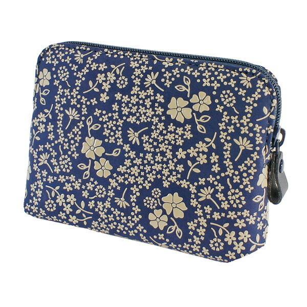 印伝 甲州印伝 印傳屋 小物ポーチ 4409 アメリカンブルー 紺地×白漆 花柄 YM01 marusima