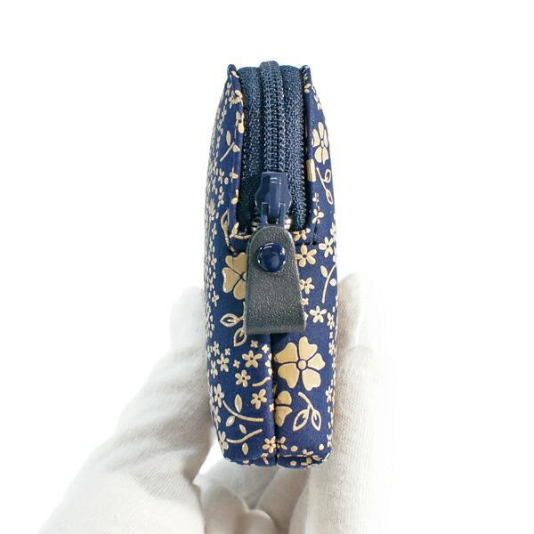 印伝 甲州印伝 印傳屋 小物ポーチ 4409 アメリカンブルー 紺地×白漆 花柄 YM01 marusima 02