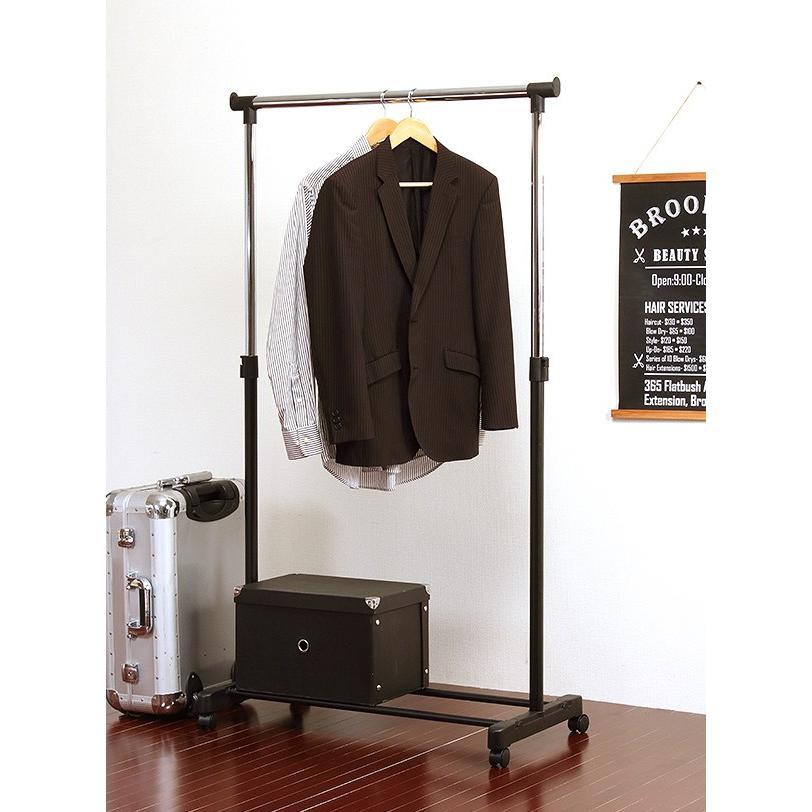 頑丈な太パイプ使用 パイプハンガー 耐荷重25kg 選べる3色 シングル 伸縮可能 キャスター付き コートハンガー 洋服掛け クローゼット[t]|marusyou|07
