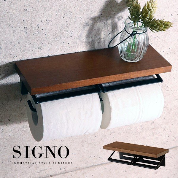 お買得 トイレットペーパーホルダー ダブル 二連 SIGNO 開催中 s ウォルナット材天然木製