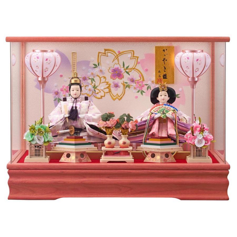 雛人形 コンパクト ケース入り 藤翁 羽衣 刺繍仕立て 三五親王飾り (桃) オルゴール付き アクリルケース