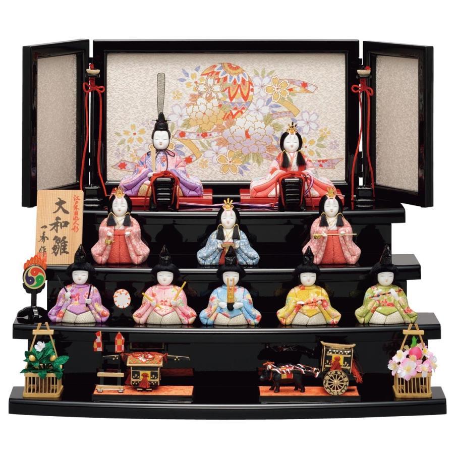 【値下げ】 雛人形 一秀 木目込み 十人飾り コンパクト 大和雛 12号-記念、行事用品