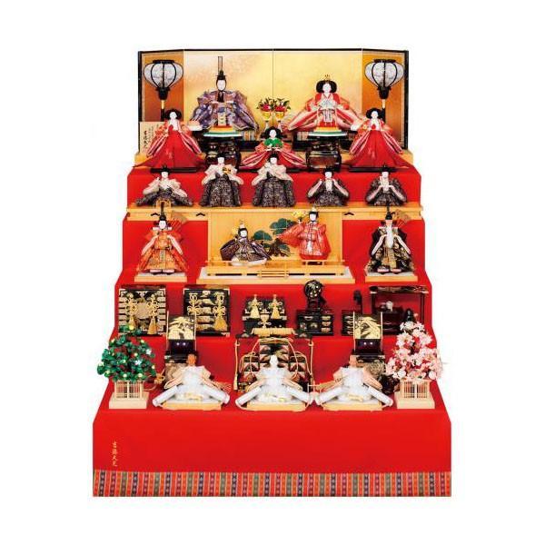 雛人形 五段 5段 吉徳 吉徳大光 京七番親王 七寸十七人揃 能楽鶴亀雛