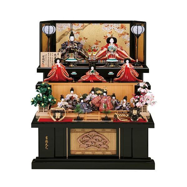 雛人形 三段 3段 吉徳 吉徳大光 京八番親王 四寸官女 十二人飾り 能楽鶴亀雛